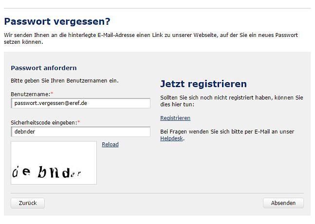"""8c979fbc06b50 Auf der Seite """"Passwort anfordern"""" geben Sie bitte die mit Ihrem  eRef-Account verknüpfte E-Mail-Adresse sowie in das darunterliegende Feld  den unten ..."""